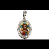 Икона Господь Вседержитель с бриллиантами и цветной эмалью в овальном окладе, белое золото