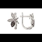 Серьги Бабочки с чёрным и белым бриллиантами, белое золото