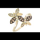 Кольцо Бабочки с коньячными и белыми бриллиантами, желтое золото