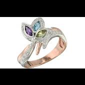 Кольцо Цветок с топазом, хризолитом, аметистом и бриллиантами из красного золота