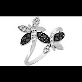 Кольцо Бабочки с чёрными и белыми бриллиантами, белое золото