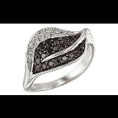Кольцо с чёрным и белым бриллиантами, белое золото