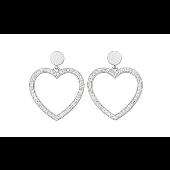 Серьги Сердце с прозрачными фианитами, серебро