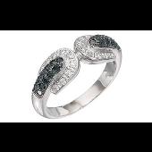 Кольцо с чёрными и белыми бриллиантами, белое золото 750 проба