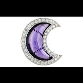 Подвеска Луна с сиреневым и прозрачными фианитами, серебро