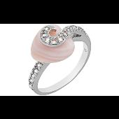 Кольцо с топазами и розовым перламутром, серебро