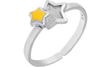 Кольцо Звезда с желтой эмалью, серебро