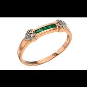 Кольцо сердечки с бриллиантами и дорожки с изумрудами, красное золото