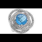 Кольцо с большим голубым фианитом и прозрачными фианитами, серебро