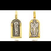 Святой Сергий Радонежский в окладе с позолотой, на обороте Ангел Хранитель, серебро