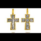 Крест нательный православный Распятие, на обороте Божия Матерь, позолота на серебре