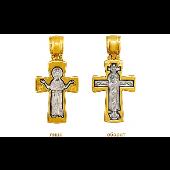 Крест православный нательный двусторонний Распятие, на обороте Божия Матерь Оранта, серебро с позолотой