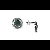 Серьги круглые с перламутром TED LAPIDUS и прозрачными фианитами, серебро
