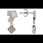Пусеты Квадраты с перламутром и фианитами TED LAPIDUS, серебро