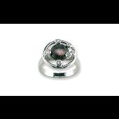 Кольцо с фианитами и чёрным перламутром TED LAPIDUS, серебро