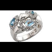 Кольцо с синтетическими топазами и фианитами TED LAPIDUS, серебро