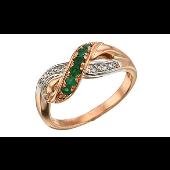 Кольцо Бесконечность с бриллиантами и изумрудами, красное золото