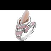 Кольцо с имитацией жемчуга и фианитом, серебро