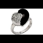 Кольцо Сердце с ониксом и фианитами, серебро