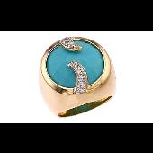 Кольцо с имитацией бирюзы и фианитами, серебро с золотым покрытием