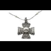 Колье Крест с имитацией жемчуга и фианитами, серебро