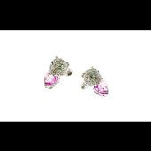Серьги клипсы (зажим, без прокола ушек) Кошки Пантеры с изумрудами и розовыми фианитами, серебро
