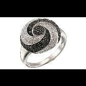 Кольцо Мистика с чёрными и белыми бриллиантами, белое золото