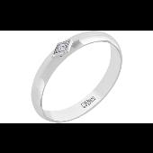 Обручальное кольцо с бриллиантом в ромбе, белое золото