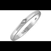 Кольцо обручальное с одним бриллиантом в ромбе, белое золото