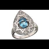Кольцо с бриллиантами и топазом, белое золото