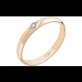 Кольцо обручальное с бриллиантом в ромбе, красное золото