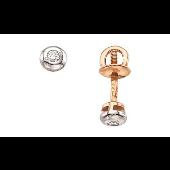 Серьги Пусеты с бриллиантом, красное золото