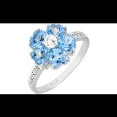 Кольцо Цветок с топазами и фианитами, белое золото