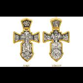 Крест православный Распятие, на обратной стороне Ангел Хранитель, серебро с позолотой