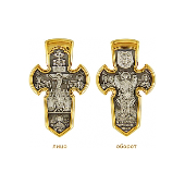 Крест православный Распятие, на обратной стороне Архангел Михаил, серебро с позолотой