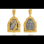 Нательная иконка Тихвинская икона Божией Матери, серебро с золотым покрытием