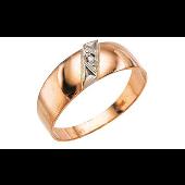 Кольцо мужское с фианитом, красное золото