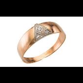 Кольцо мужское треугольник с фианитами, красное золото
