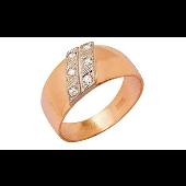 Кольцо мужское с фианитами, красное золото