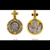Икона Святой великомученик Георгий, на обороте Ангел Хранитель, петелька в виде креста, серебро