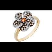 Кольцо Цветок с коньячными бриллиантами и цитрином, желтое золото