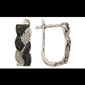 Серьги Колос с чёрными и белыми бриллиантами, белое золото