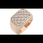 Перстень мужской с бриллиантами, красное золото