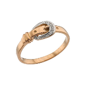 Кольцо Ремень с бриллиантами, красное золото