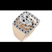 Кольцо Череп с чёрными бриллиантами, желтое золото
