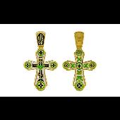 Крест с зеленой эмалью и золотым покрытием, серебро