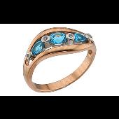 Кольцо с бриллиантами и топазами, красное золото