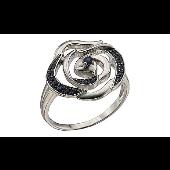 Кольцо Роза с сапфирами, белое золото