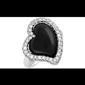 Кольцо Серебро с чёрным агатом и фианитами, серебро