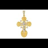 Крест православный с бриллиантами, желтое золото